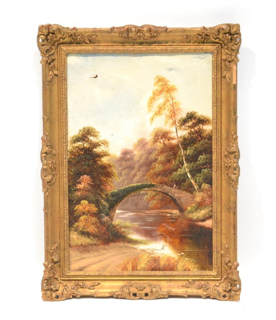 OIL ON CANVAS BRIDGE OVER RIVER LANDSCAPE