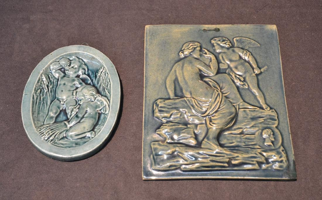 MASSIER MAJOLICA PLAQUE OF DEPICTING NUDE WITH