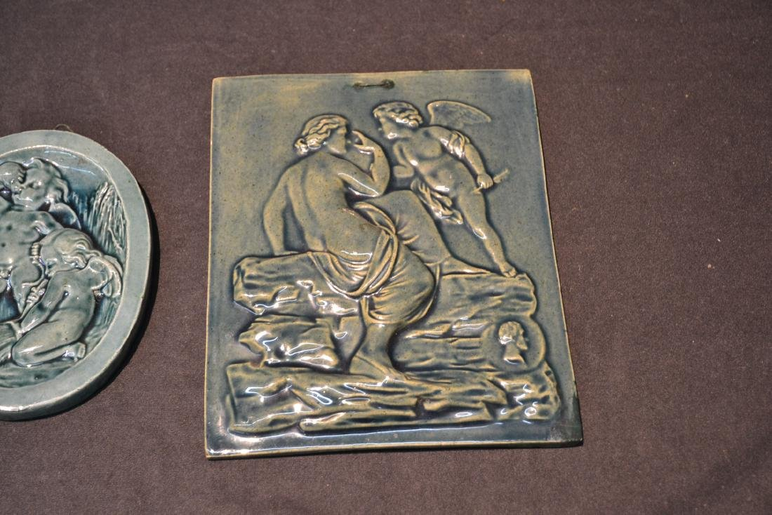 MASSIER MAJOLICA PLAQUE OF DEPICTING NUDE WITH - 2