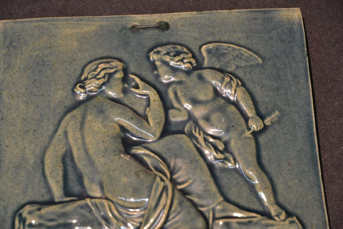 MASSIER MAJOLICA PLAQUE OF DEPICTING NUDE WITH - 3