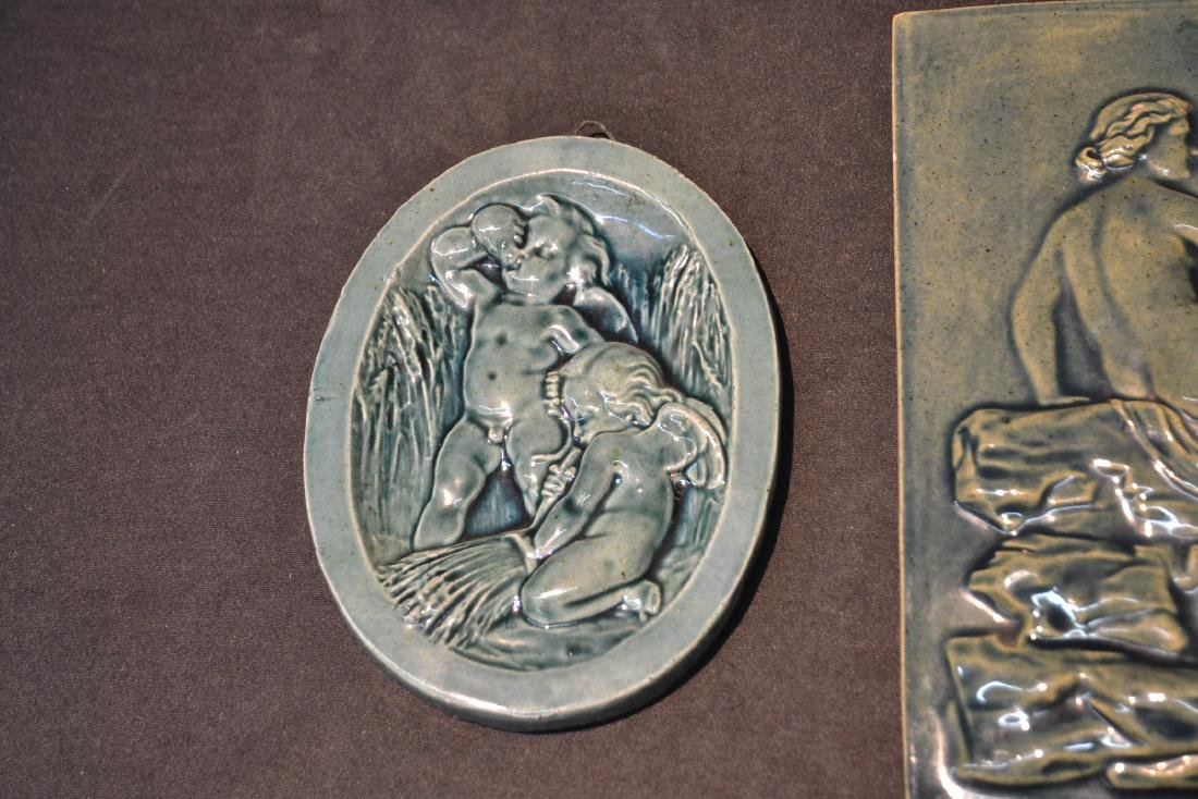 MASSIER MAJOLICA PLAQUE OF DEPICTING NUDE WITH - 4