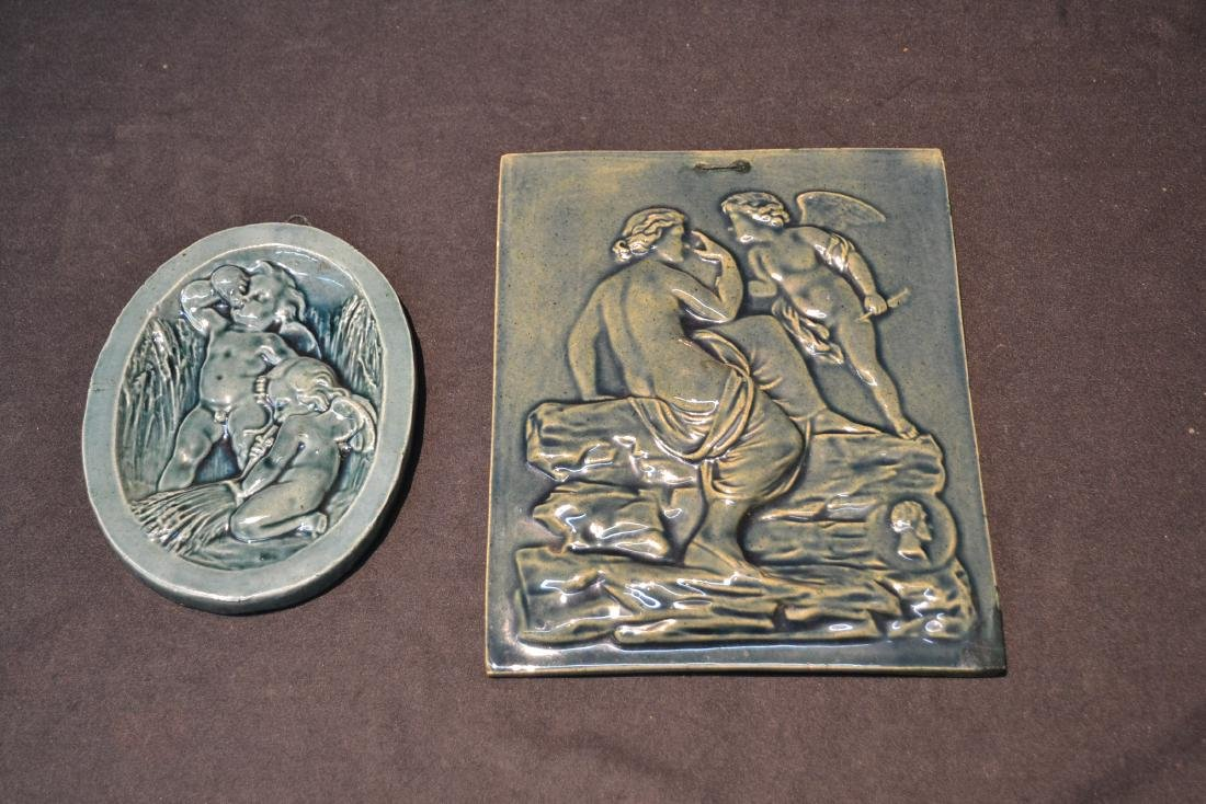 MASSIER MAJOLICA PLAQUE OF DEPICTING NUDE WITH - 8