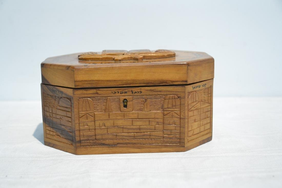 ANTIQUE JUDAICA WOOD BOX WITH CARVED - 4