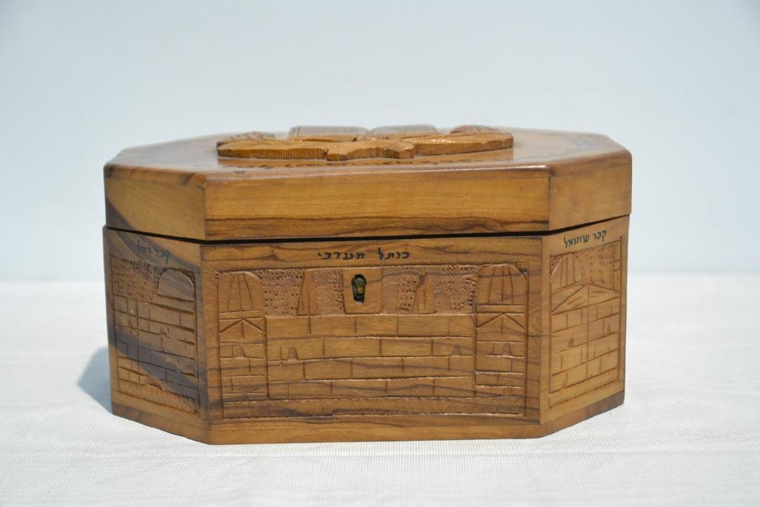 ANTIQUE JUDAICA WOOD BOX WITH CARVED - 5