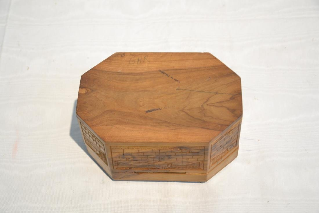 ANTIQUE JUDAICA WOOD BOX WITH CARVED - 9