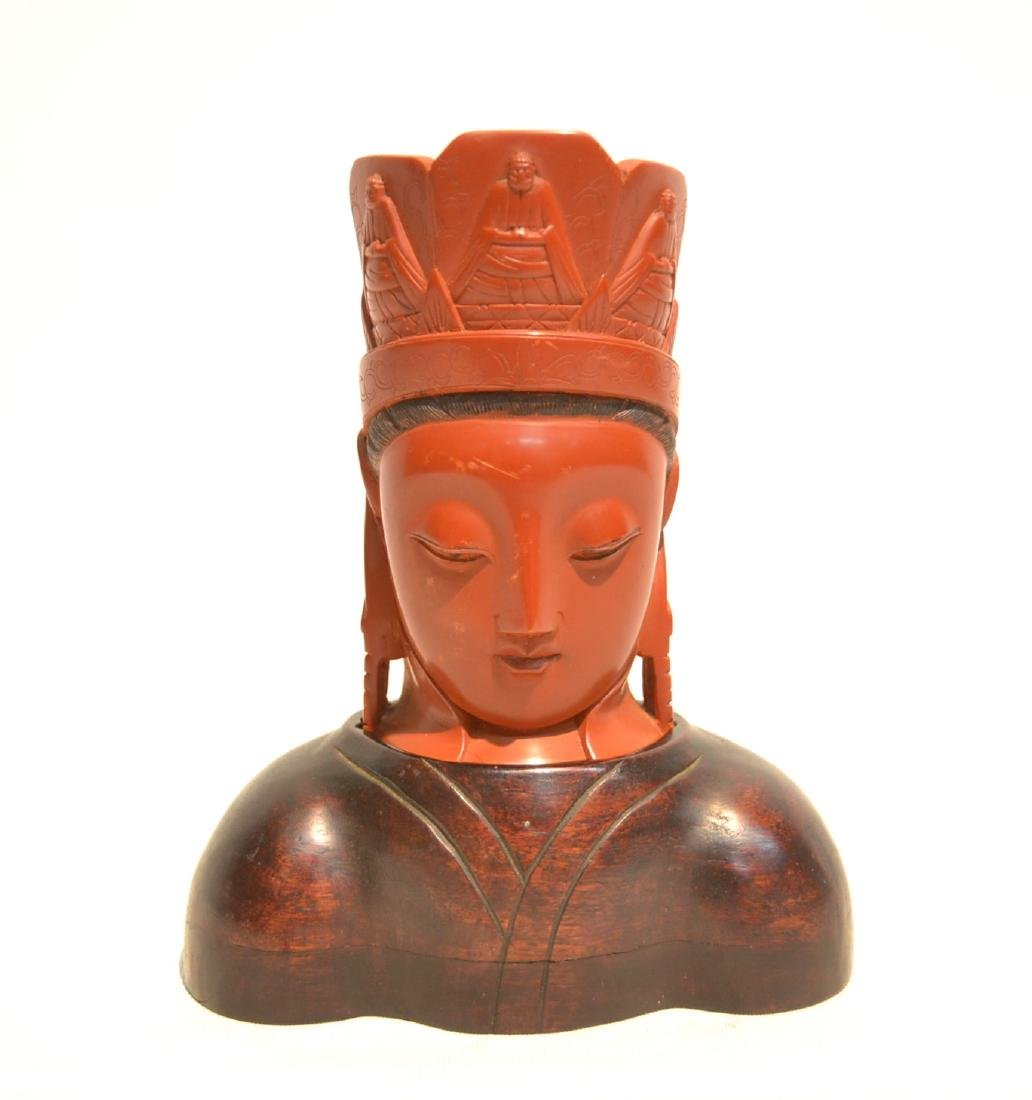 CHINESE CINNABAR GUANYIN BUST ON