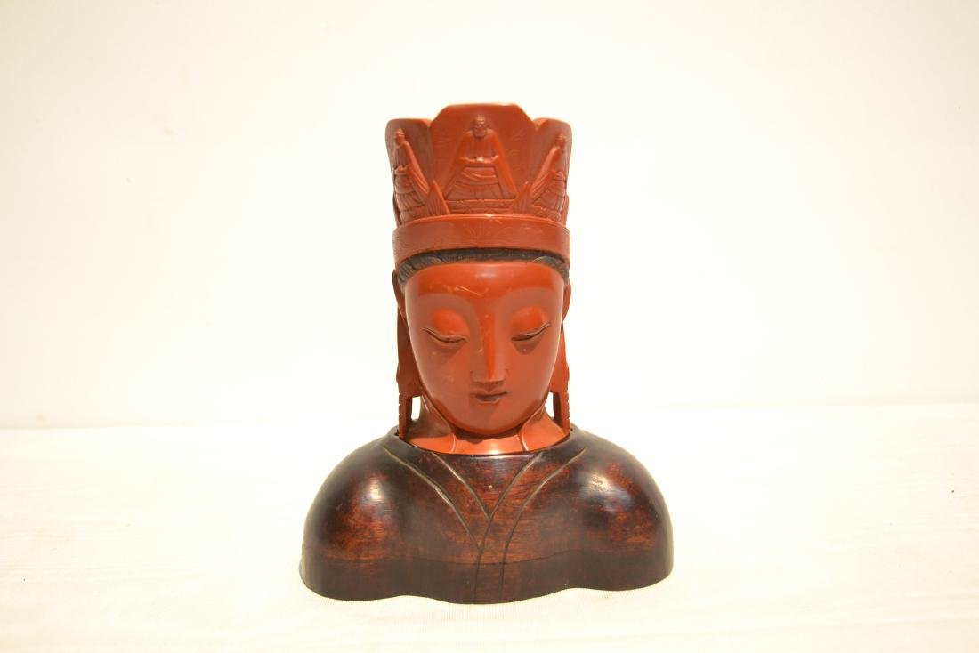 CHINESE CINNABAR GUANYIN BUST ON - 2