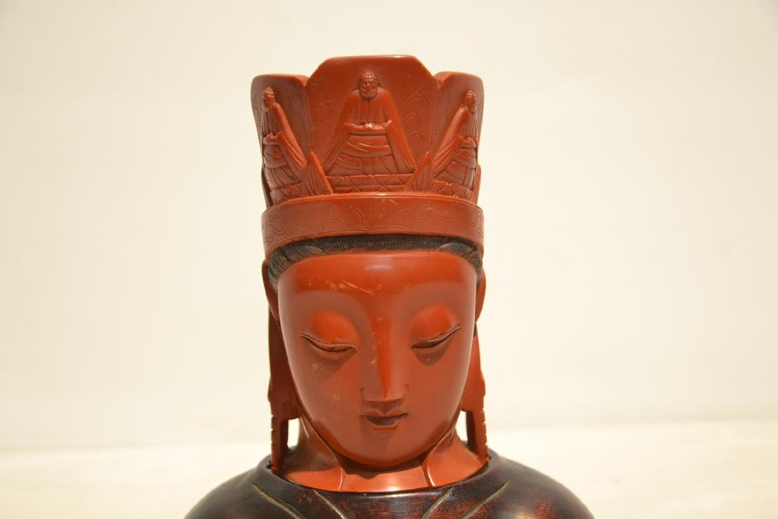 CHINESE CINNABAR GUANYIN BUST ON - 3