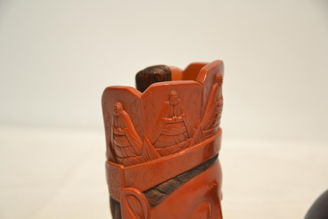 CHINESE CINNABAR GUANYIN BUST ON - 7