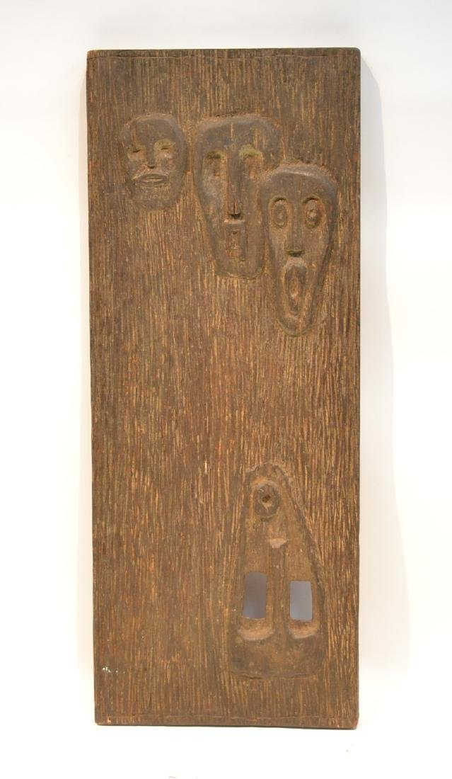 HAND CARVED TRIBAL WALL PLAQUE WITH FACES