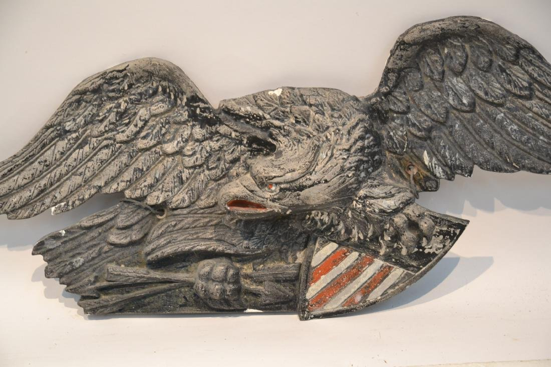 "ANTIQUE SPELTER AMERICAN EAGLE - 40"" x 13"" - 3"
