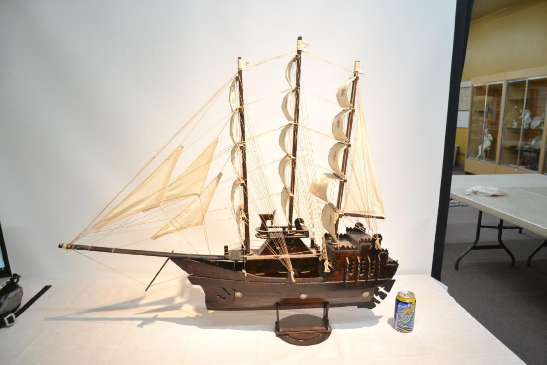 "WOODEN PIRATE SHIP MODEL - 41"" x 5"" x 35"" - 4"