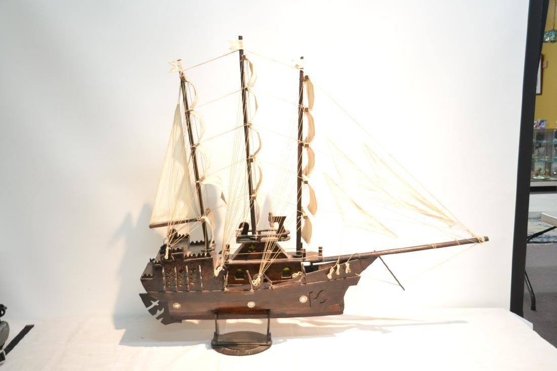 "WOODEN PIRATE SHIP MODEL - 41"" x 5"" x 35"" - 7"