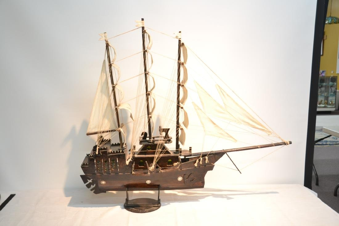 "WOODEN PIRATE SHIP MODEL - 41"" x 5"" x 35"" - 8"