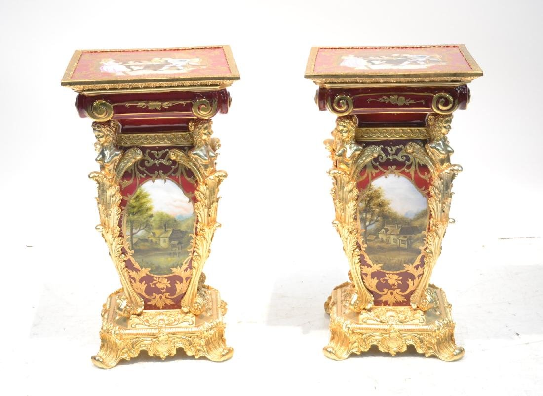 (Pr) PORCELAIN BRONZE MOUNTED STANDS WITH