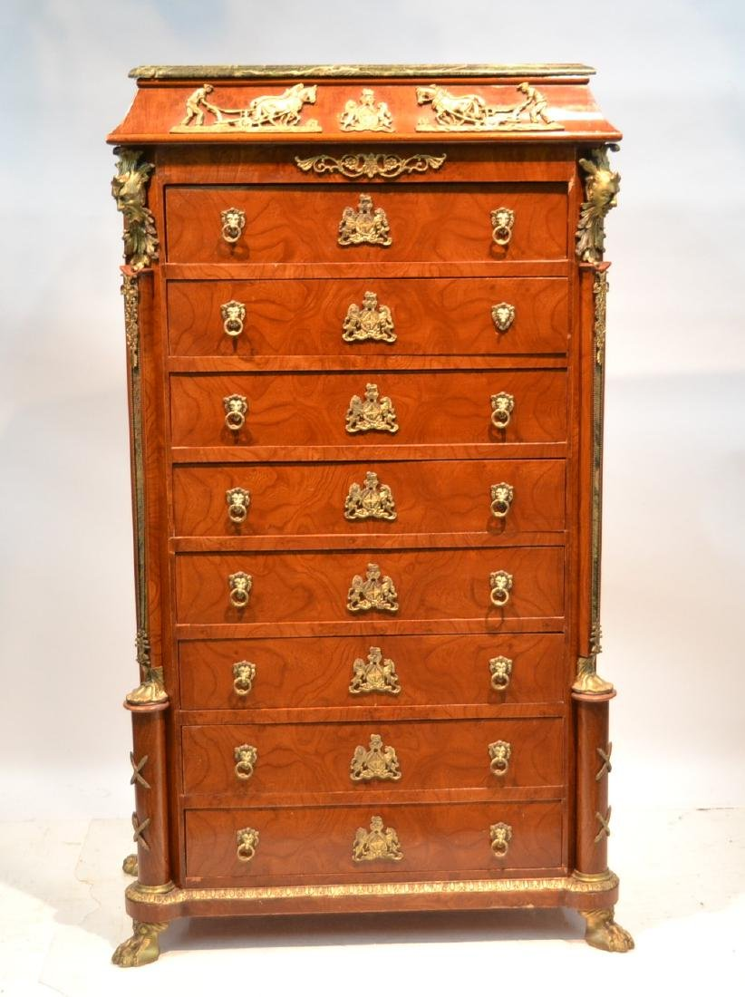 8-DRAWER MARBLE TOP HIGH CHEST WITH BRONZE