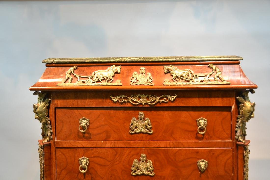 8-DRAWER MARBLE TOP HIGH CHEST WITH BRONZE - 2