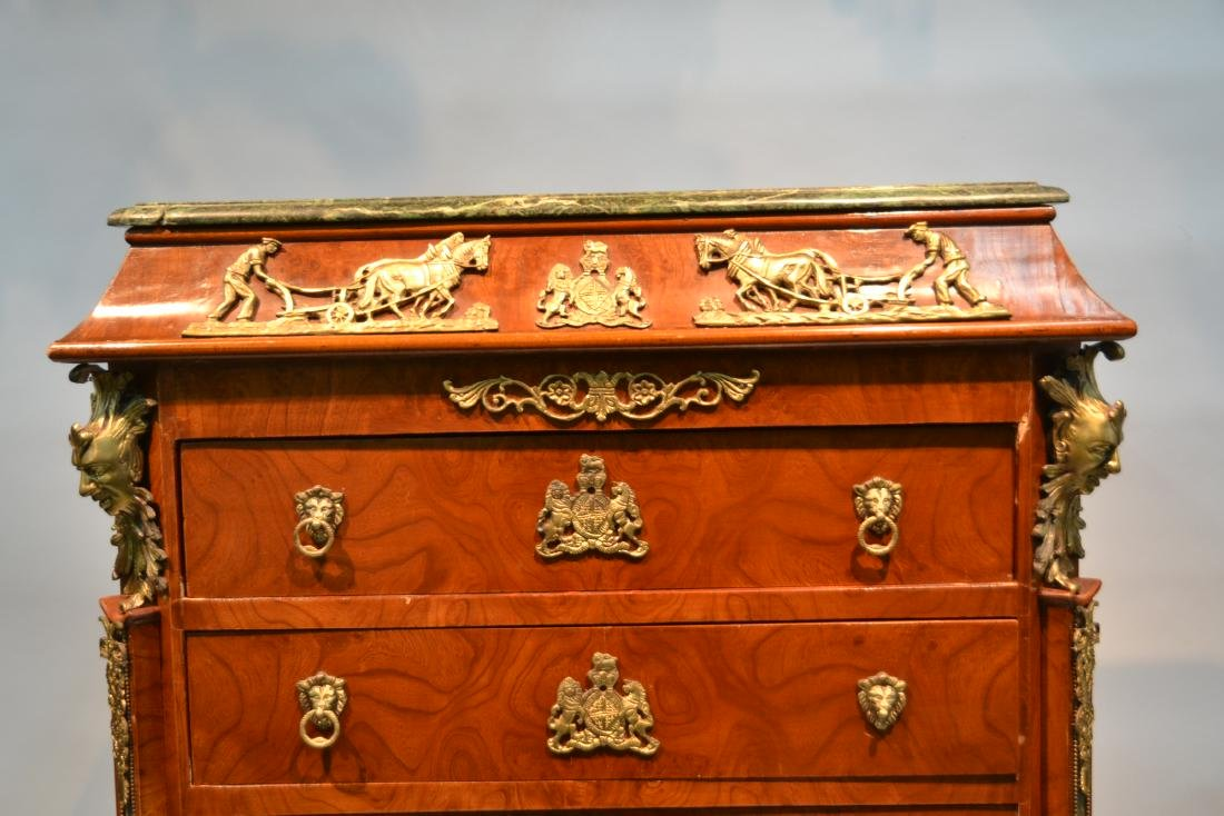 8-DRAWER MARBLE TOP HIGH CHEST WITH BRONZE - 3