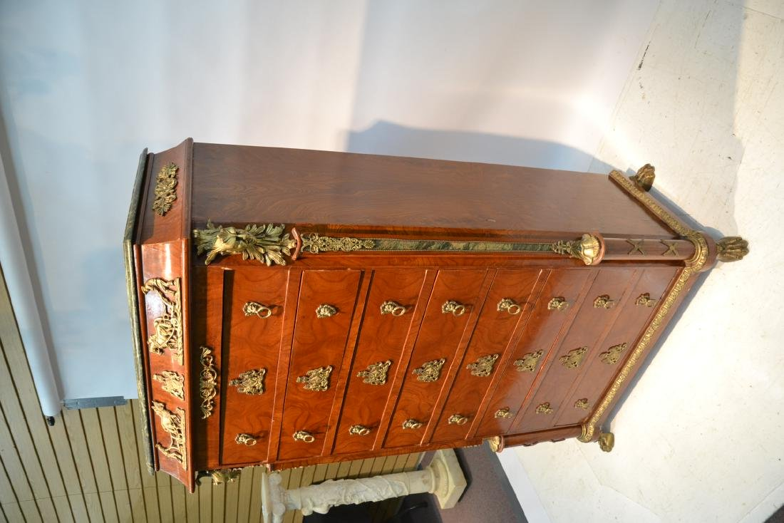 8-DRAWER MARBLE TOP HIGH CHEST WITH BRONZE - 4