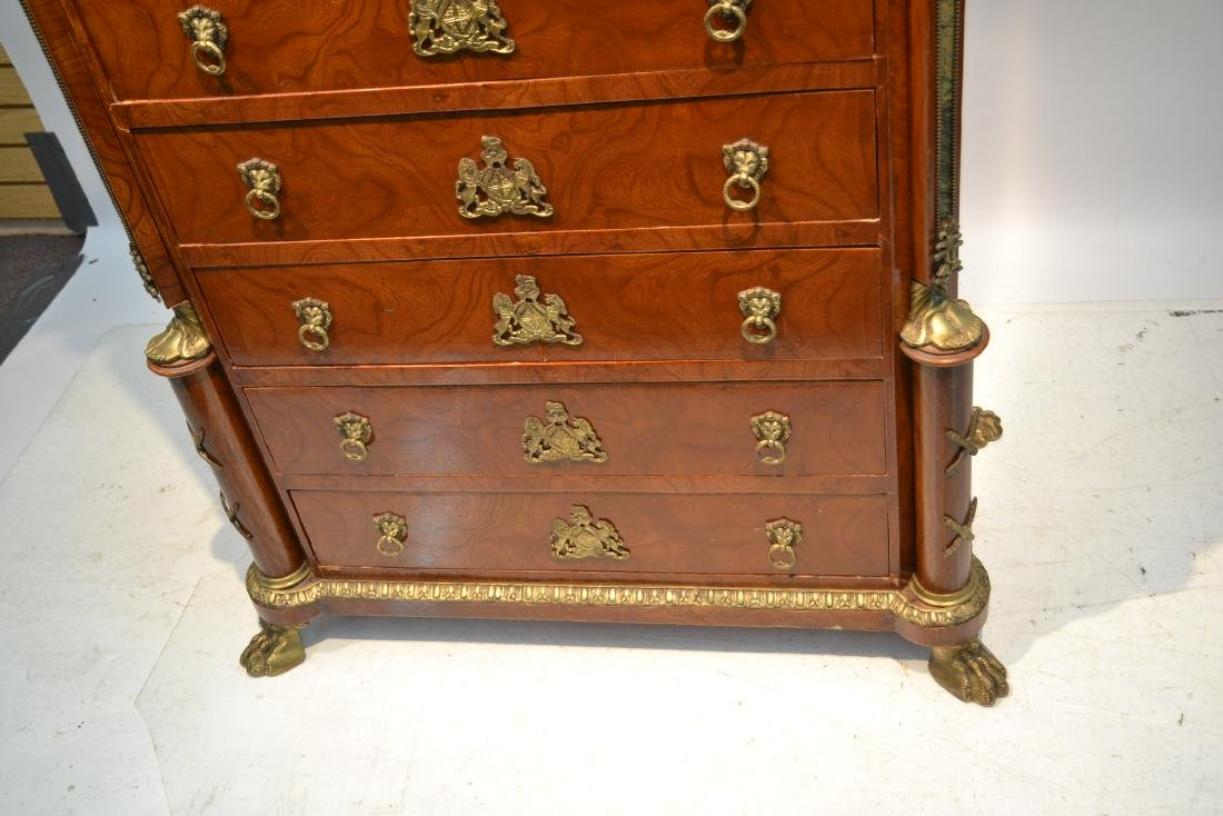 8-DRAWER MARBLE TOP HIGH CHEST WITH BRONZE - 6