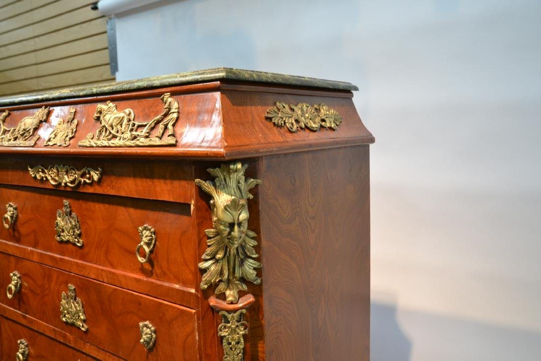 8-DRAWER MARBLE TOP HIGH CHEST WITH BRONZE - 7