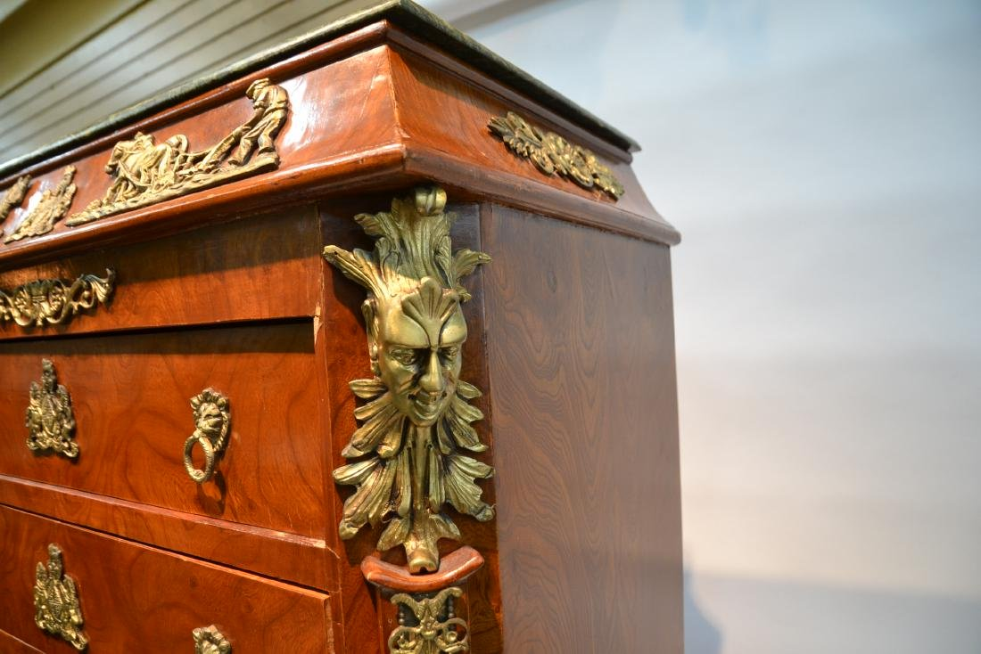 8-DRAWER MARBLE TOP HIGH CHEST WITH BRONZE - 8
