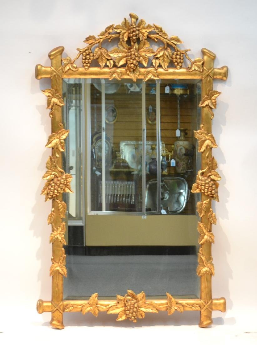 HAND CARVED GILTWOOD BEVELED MIRROR WITH