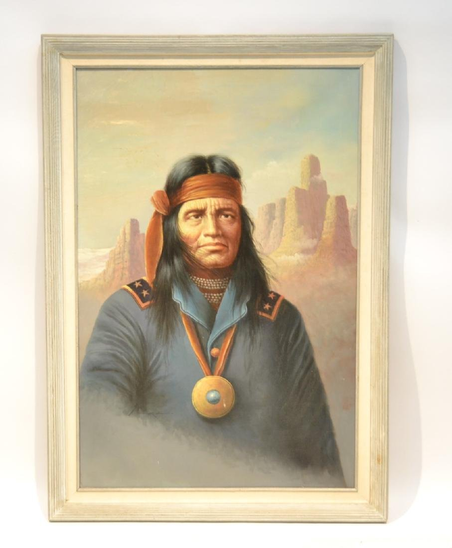 OIL ON CANVAS PORTRAIT OF AMERICAN INDIAN