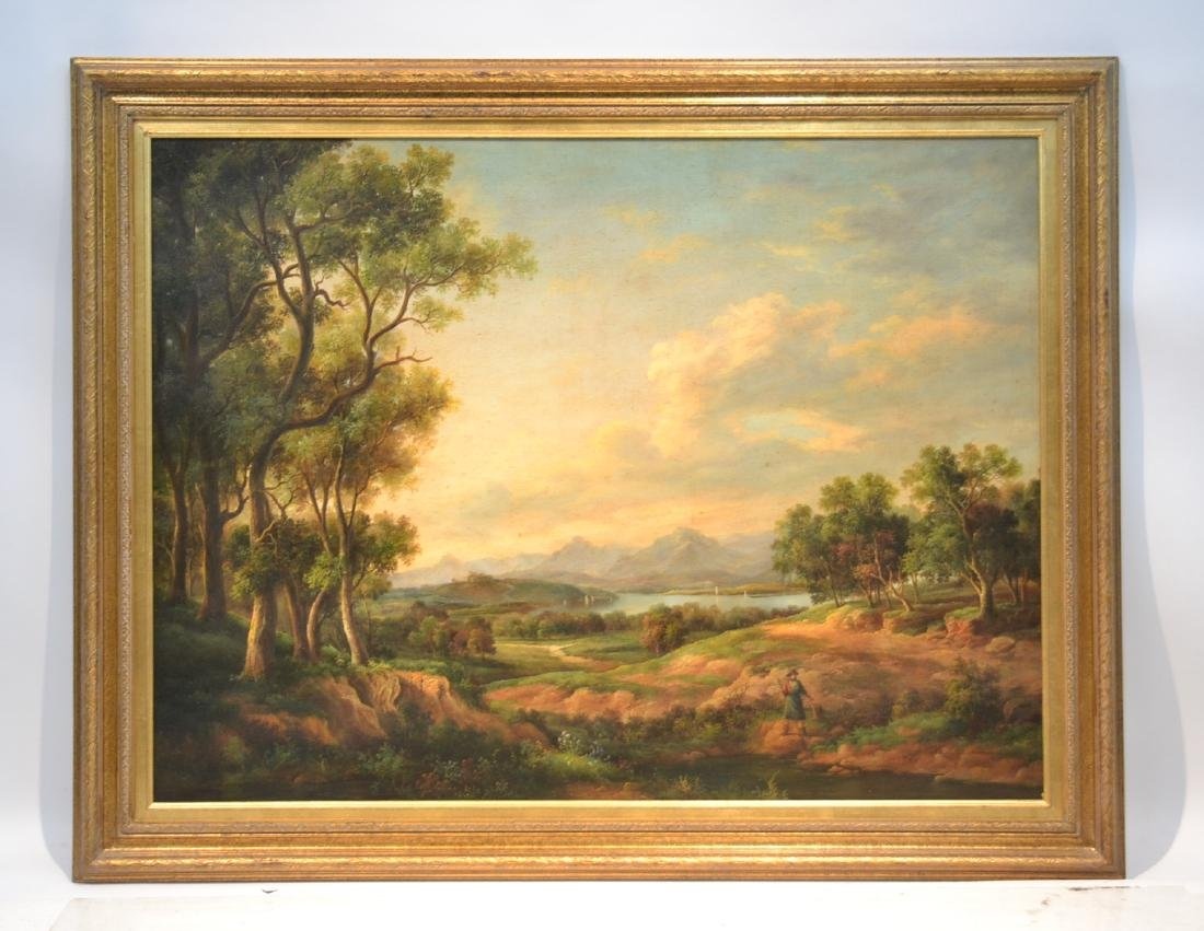 LARGE OIL ON CANVAS OF FIGURES IN LANDSCAPE