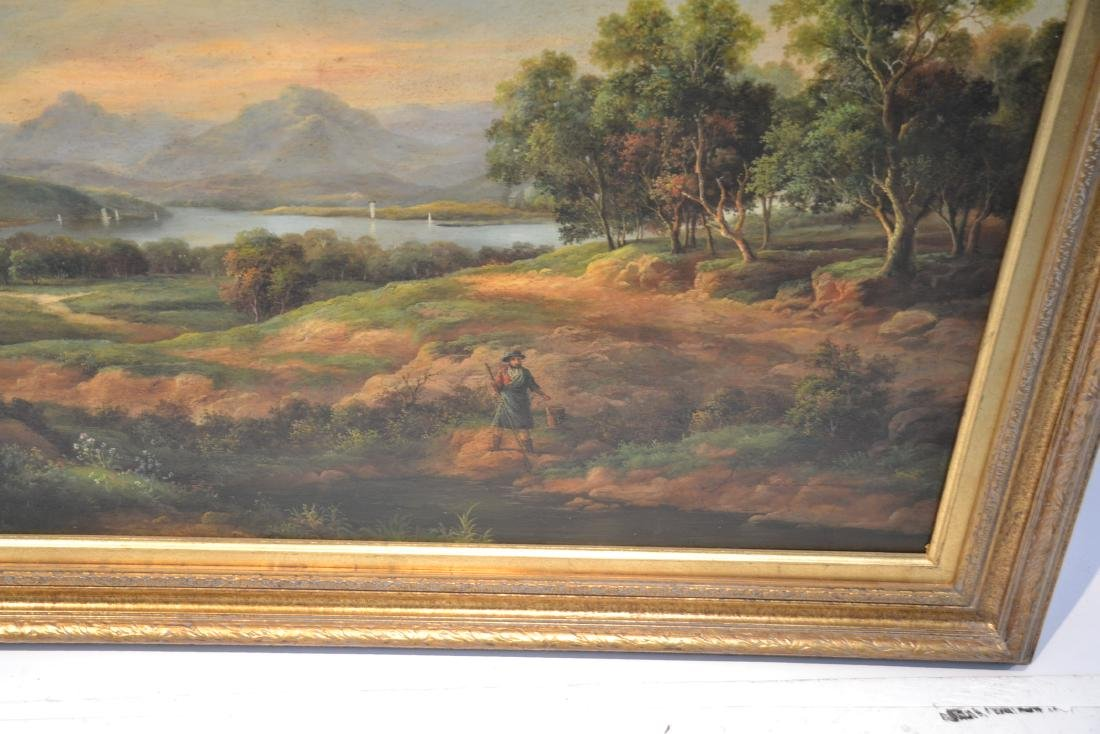 LARGE OIL ON CANVAS OF FIGURES IN LANDSCAPE - 5