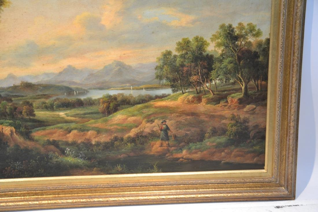 LARGE OIL ON CANVAS OF FIGURES IN LANDSCAPE - 7