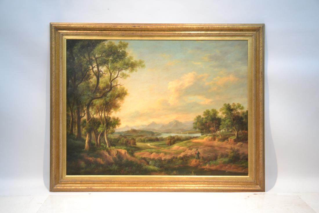 LARGE OIL ON CANVAS OF FIGURES IN LANDSCAPE - 9