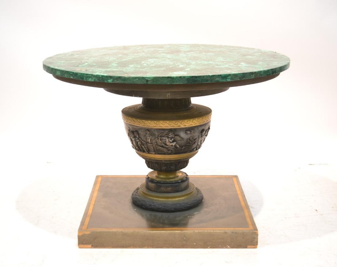 MALACHITE & SILVERED BRONZE COFFEE TABLE