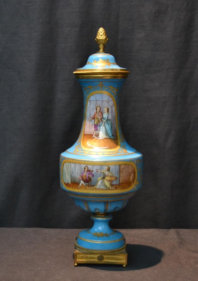 19thC HAND PAINTED SEVRES COVERED URN WITH