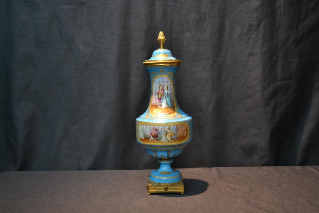 19thC HAND PAINTED SEVRES COVERED URN WITH - 2