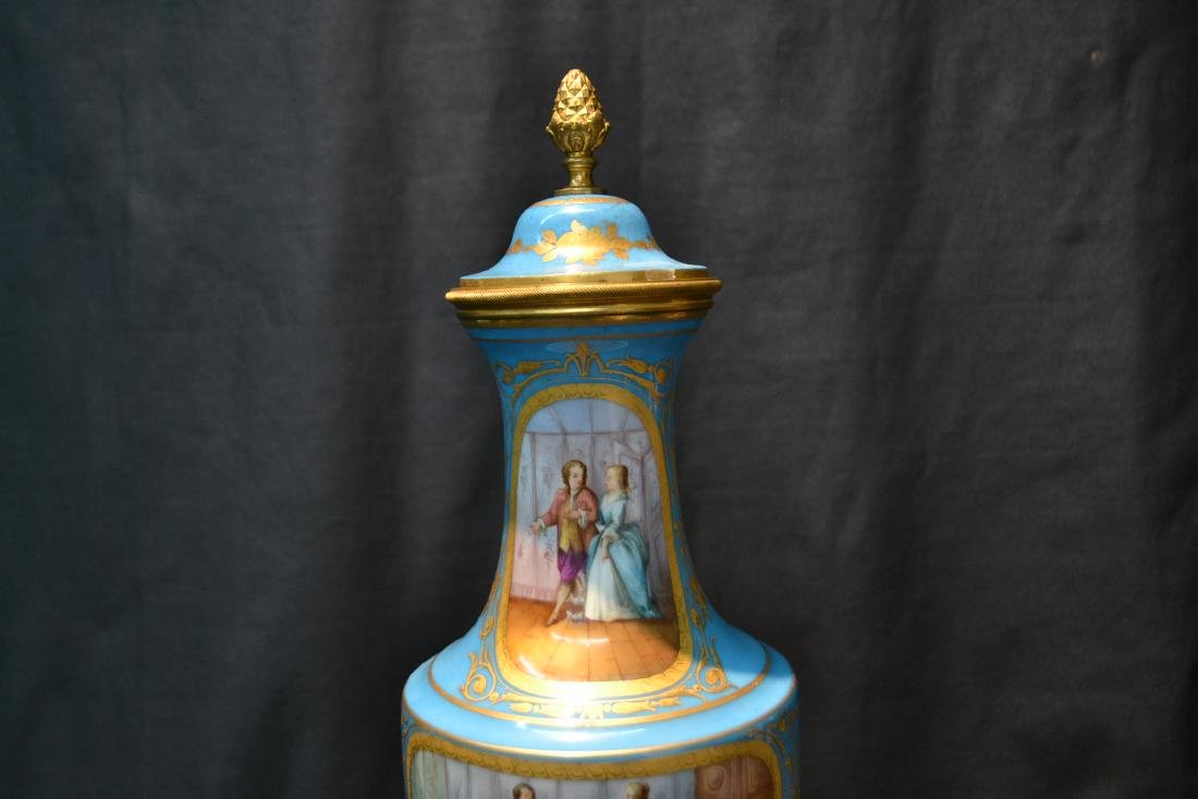 19thC HAND PAINTED SEVRES COVERED URN WITH - 3