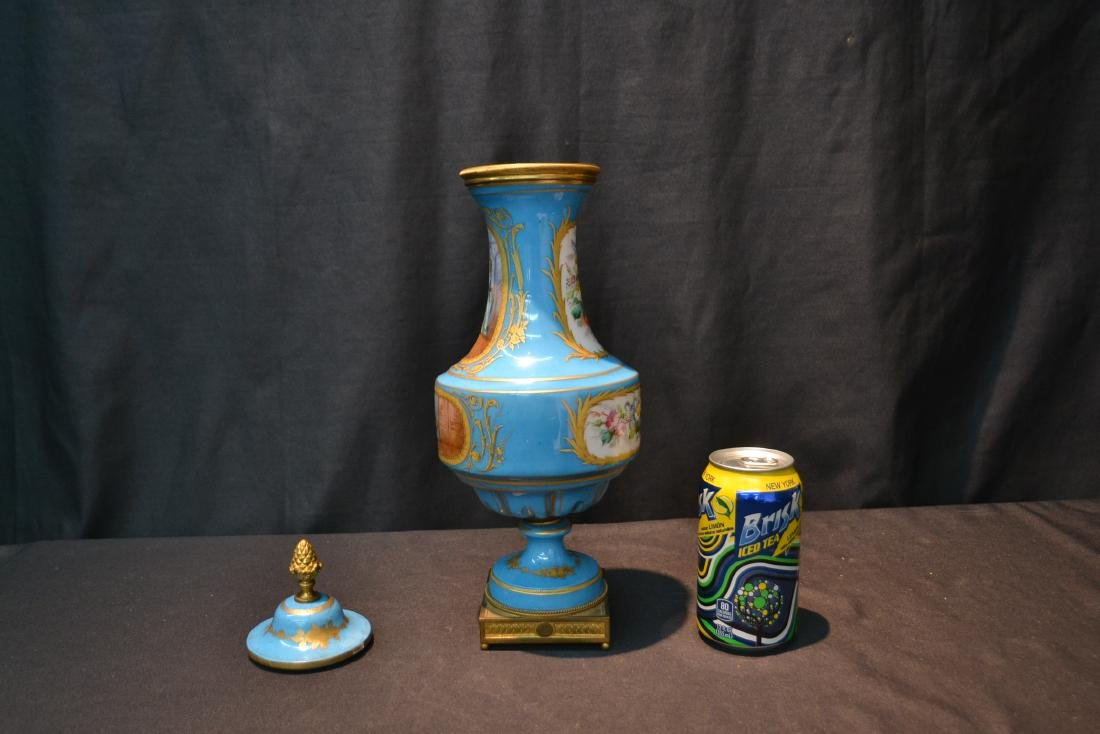 19thC HAND PAINTED SEVRES COVERED URN WITH - 6