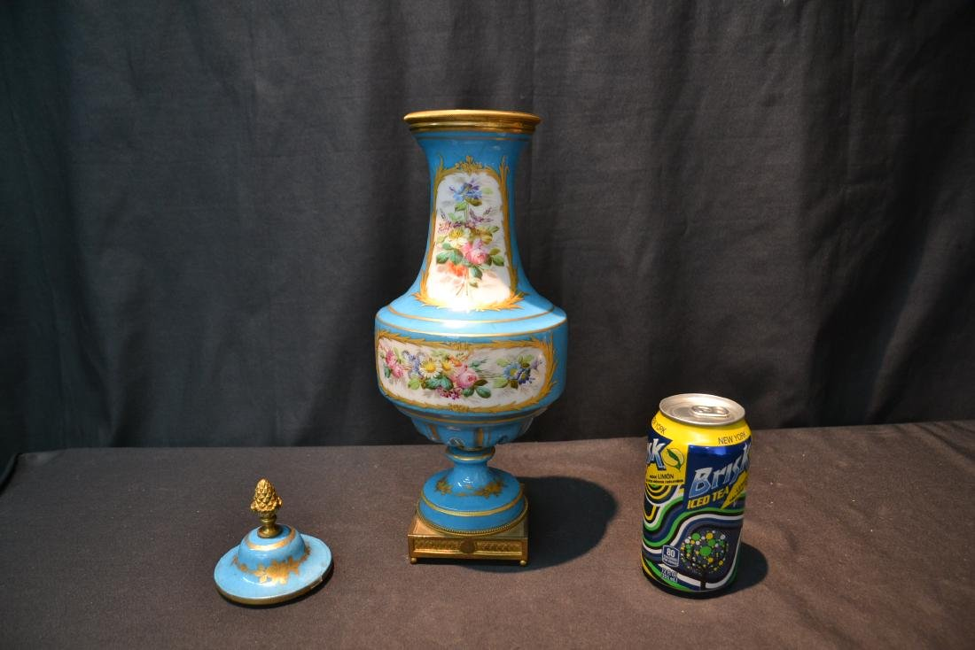 19thC HAND PAINTED SEVRES COVERED URN WITH - 7