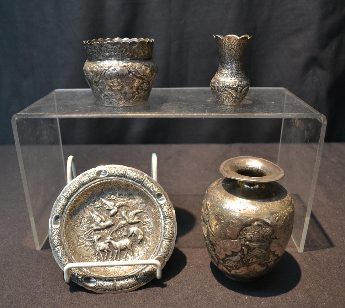 (4)pc OF EMBOSSED PERSIAN SILVER - (3) VASES