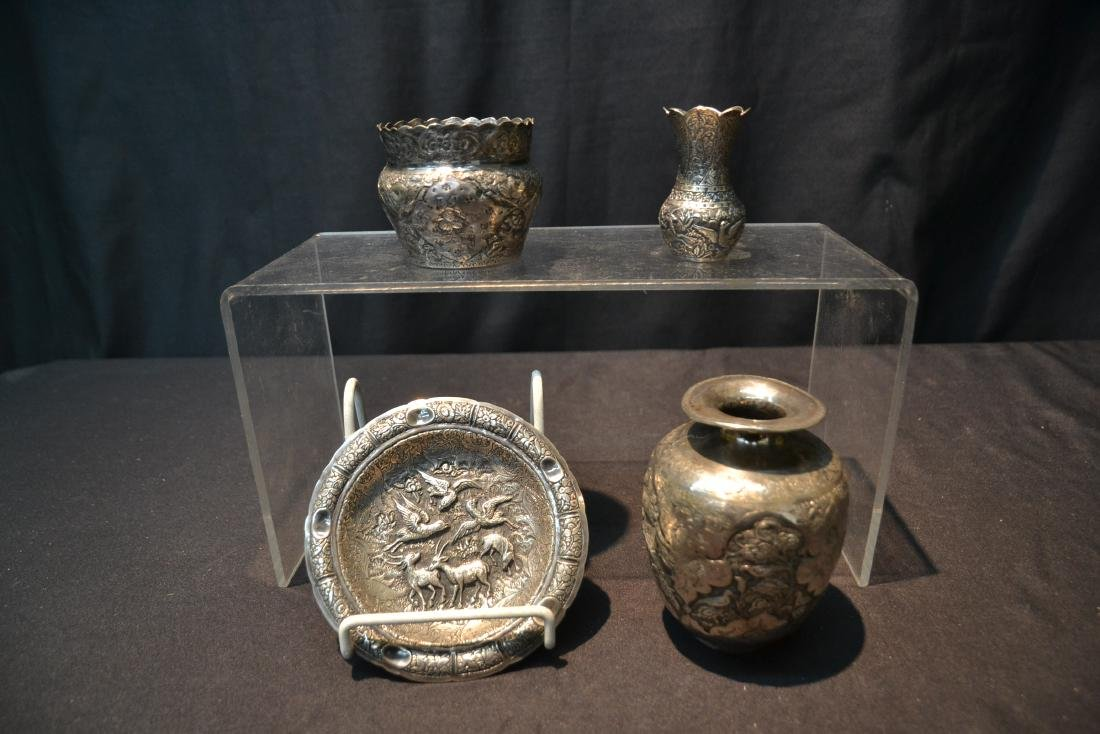 (4)pc OF EMBOSSED PERSIAN SILVER - (3) VASES - 2