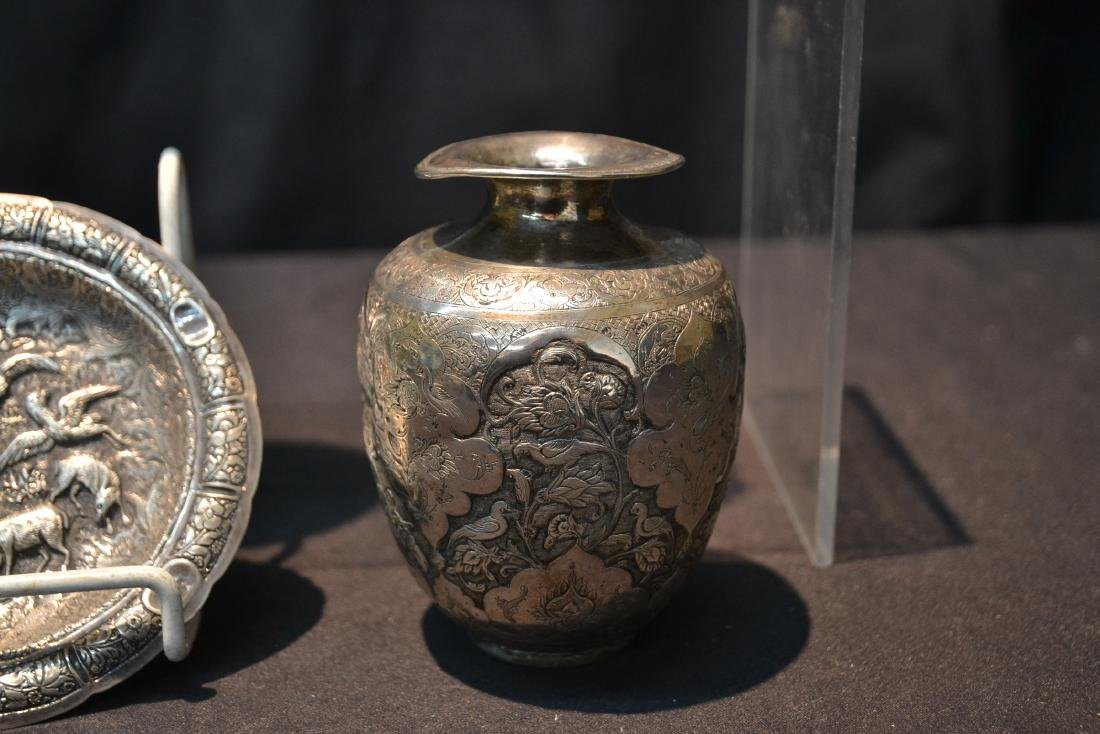 (4)pc OF EMBOSSED PERSIAN SILVER - (3) VASES - 4