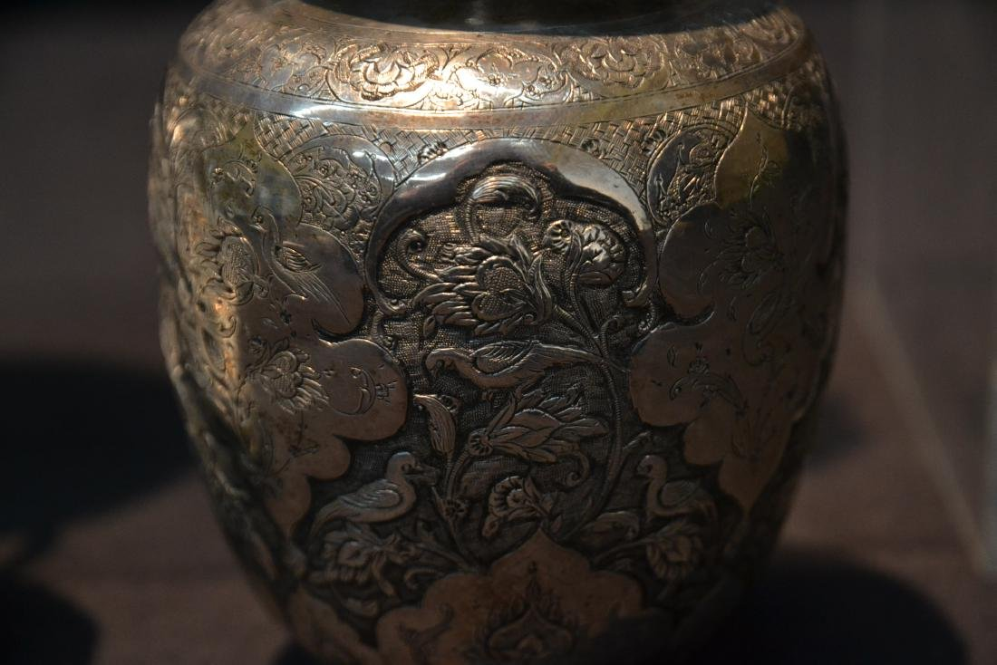 (4)pc OF EMBOSSED PERSIAN SILVER - (3) VASES - 5