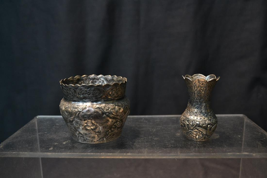 (4)pc OF EMBOSSED PERSIAN SILVER - (3) VASES - 6