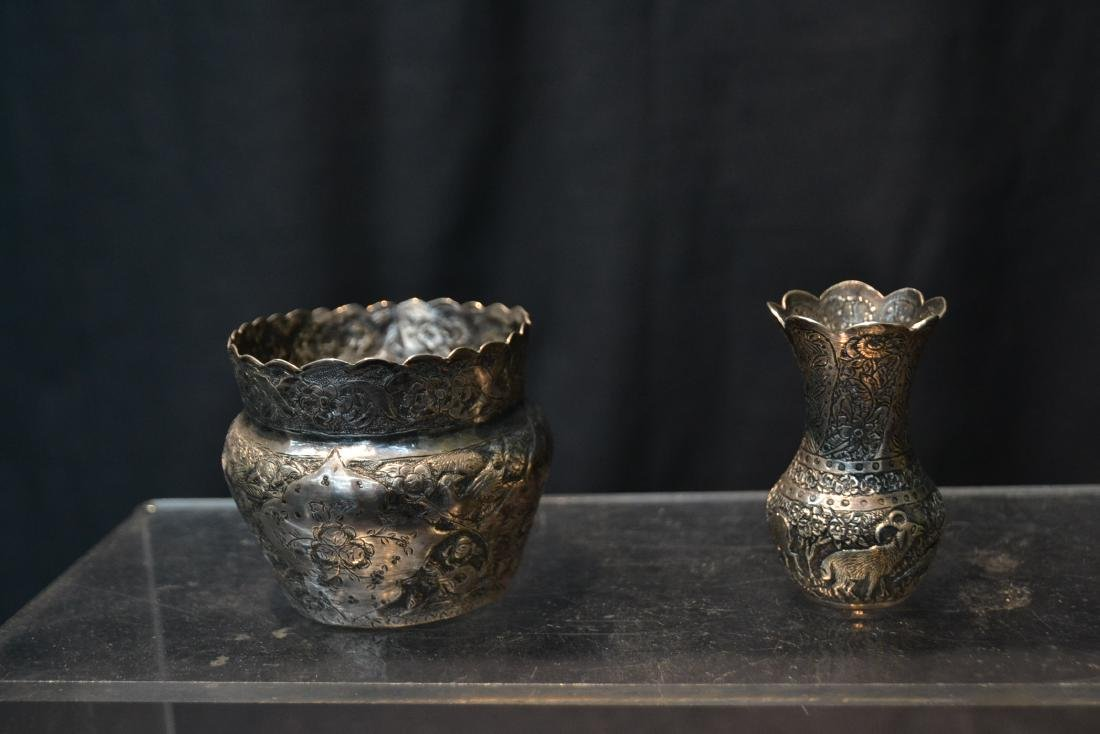 (4)pc OF EMBOSSED PERSIAN SILVER - (3) VASES - 7