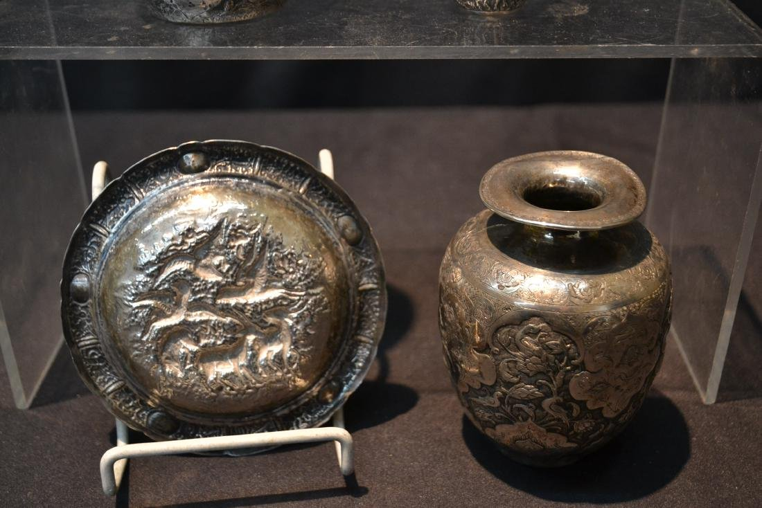 (4)pc OF EMBOSSED PERSIAN SILVER - (3) VASES - 8
