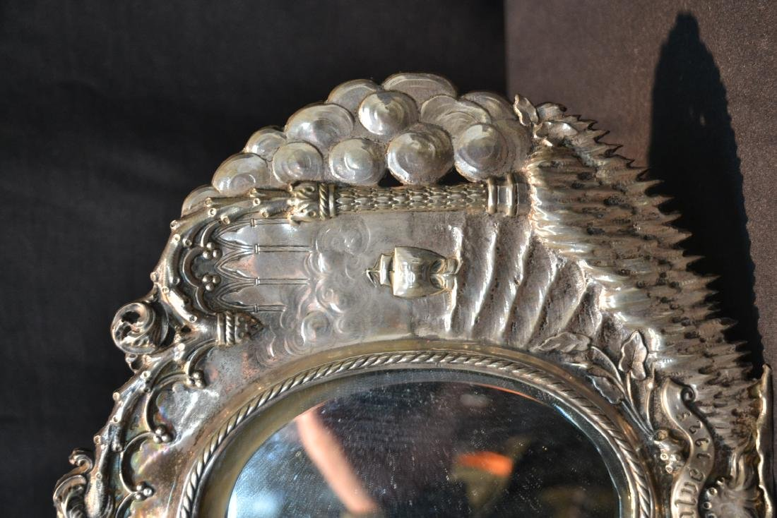 EMBOSSED SILVER MIRROR WITH SHIPS ON HIGH SEAS - 4