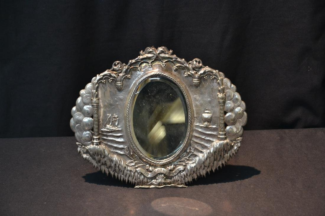 EMBOSSED SILVER MIRROR WITH SHIPS ON HIGH SEAS - 7
