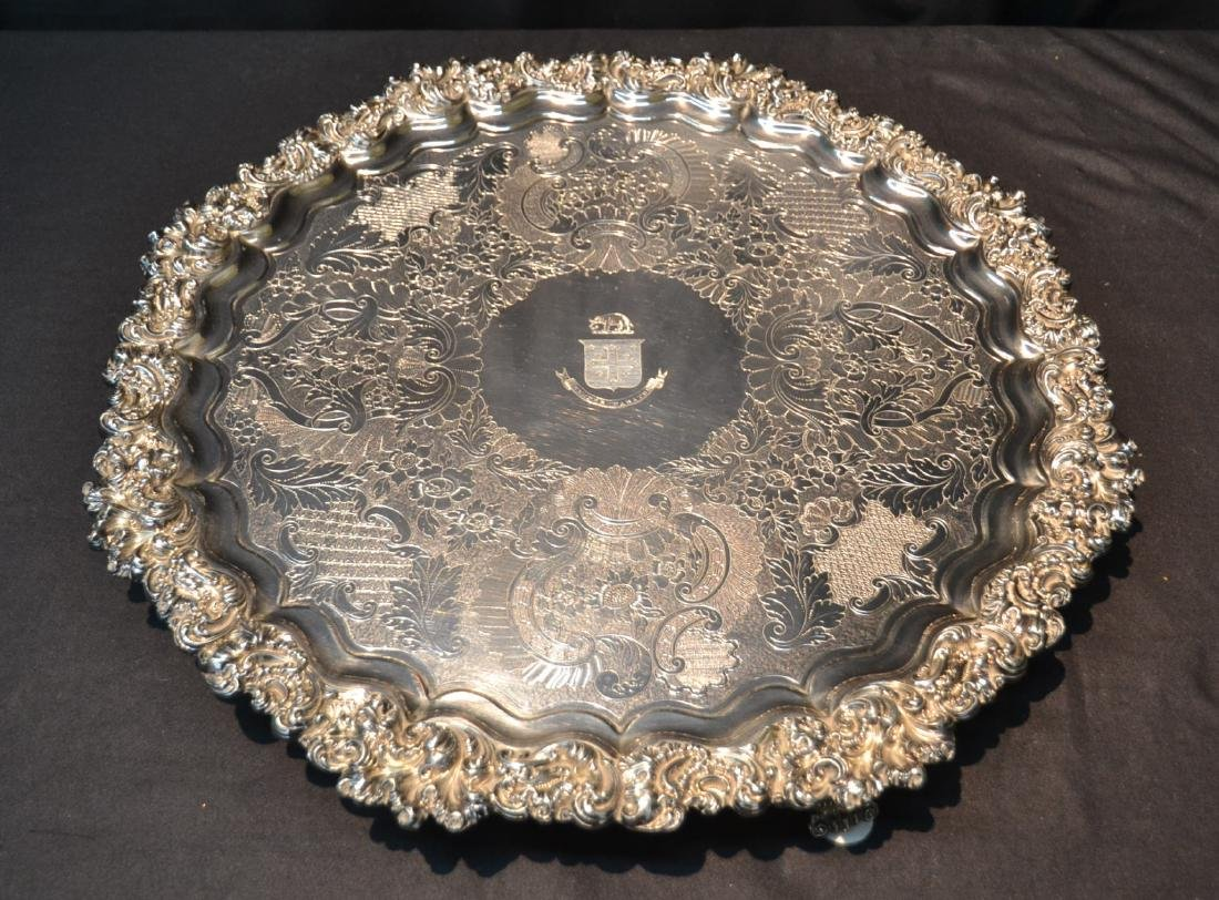 LARGE SHEFFIELD SILVER PLATE FOOTED TRAY BY