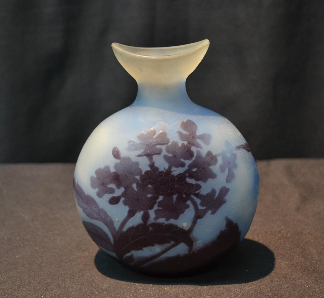"BLUE GALLE CAMEO ART GLASS VASE - 4 1/2"" x 2"" x 6"""