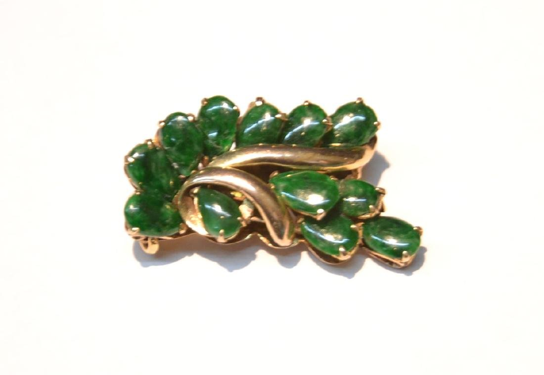 "14kt GOLD & JADE PIN - 1/2"" x 1"" ; 7.4grams"